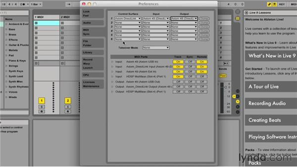 Setting up MIDI preferences: Ableton Live 9 Essential Training