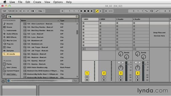 Searching for and auditioning clips and devices: Ableton Live 9 Essential Training