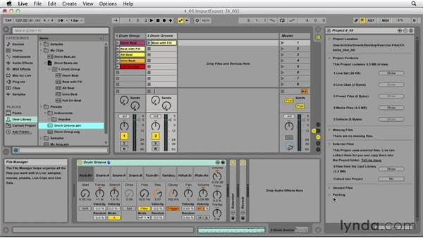 Exporting clips and devices: Ableton Live 9 Essential Training
