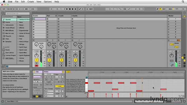 Utilizing the pencil to enter MIDI notes: Ableton Live 9 Essential Training