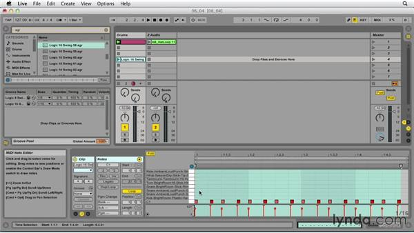 Quantizing with grooves: Ableton Live 9 Essential Training