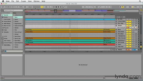 Zooming in and out and playing in Arrangement view: Ableton Live 9 Essential Training