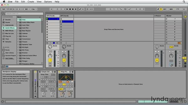 Building interesting effects with delay effect processing: Ableton Live 9 Essential Training