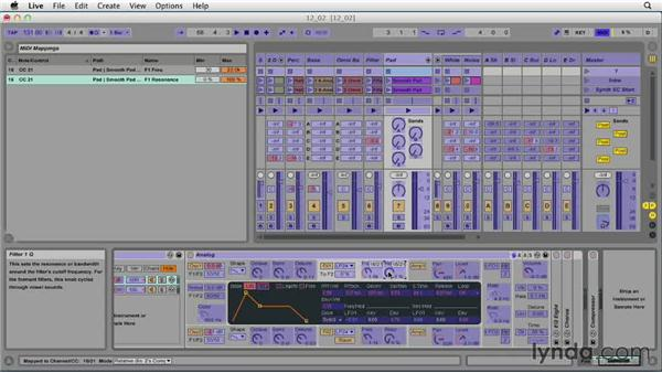Mapping device controls to the MIDI keyboard: Ableton Live 9 Essential Training