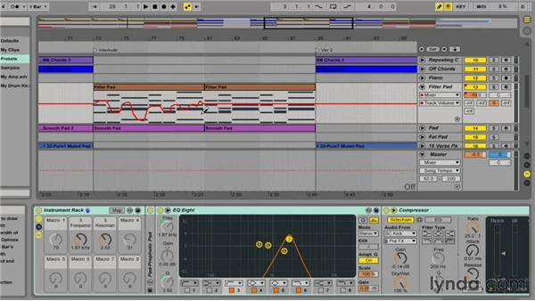 Drawing automation manually: Ableton Live 9 Essential Training