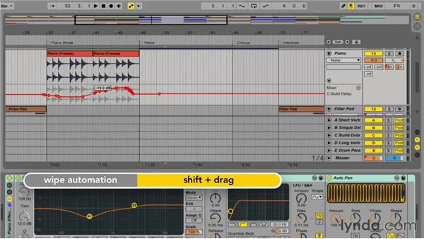Editing existing automation information: Ableton Live 9 Essential Training