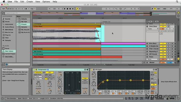 Using fades to mask audio pops and clicks: Ableton Live 9 Essential Training