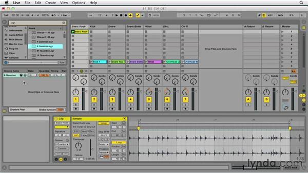 Using warp features to quantize audio