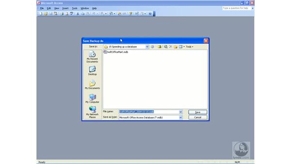 backing up: Access 2003 Essential Training