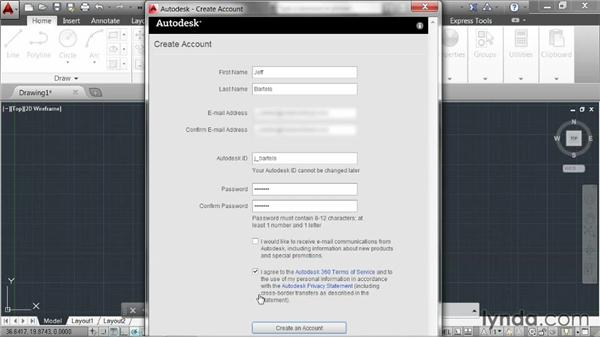 Creating an account: AutoCAD 2014 New Features