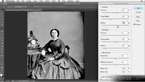 Reducing contrast with Shadows/Highlights: Restoring Photos with Photoshop CS6