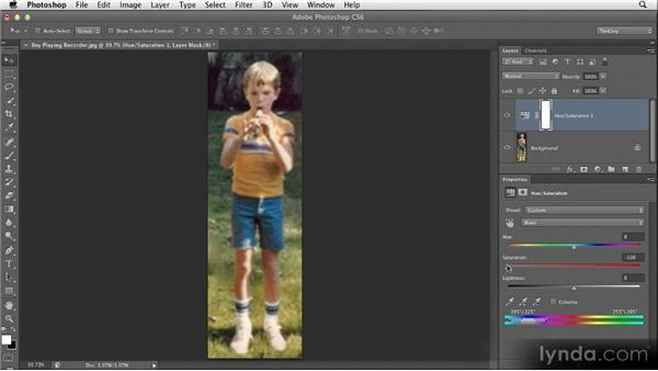 Isolating colors with Hue/Saturation: Restoring Photos with Photoshop CS6