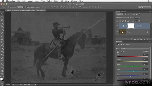 Completely removing color: Restoring Photos with Photoshop CS6