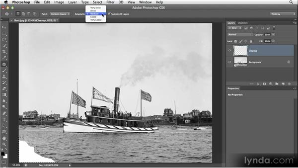 Cleaning a selected area: Restoring Photos with Photoshop CS6