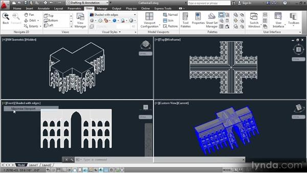 Working with tiled viewports: Up and Running with 3D in AutoCAD 2013