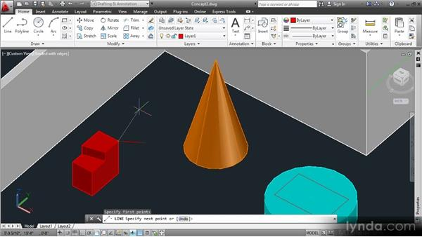 Specifying 3D coordinates: Up and Running with 3D in AutoCAD 2013