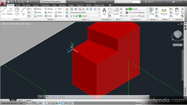 Manually rotating the UCS: Up and Running with 3D in AutoCAD 2013