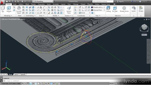 Creating the volutes: Up and Running with 3D in AutoCAD 2013