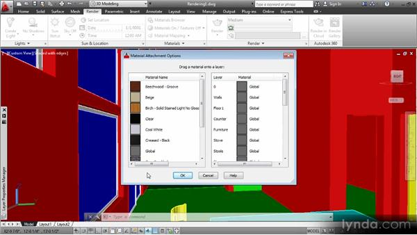 Assigning and editing materials: Up and Running with 3D in AutoCAD 2013