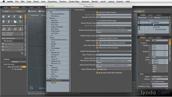 General preferences: Getting Started with MODO 601