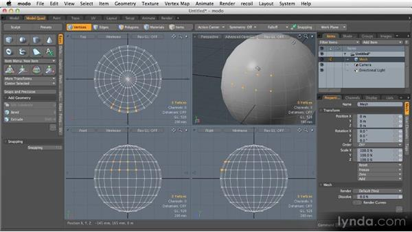 Vertices, edges, and polygons: Getting Started with MODO 601