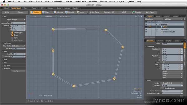 The Polygon Pen tool: Getting Started with MODO 601