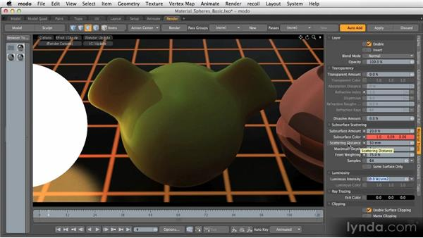 Basic material channels: Subsurface scattering: Getting Started with MODO 601