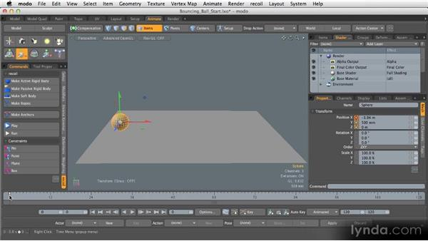 Creating keyframes: Getting Started with MODO 601