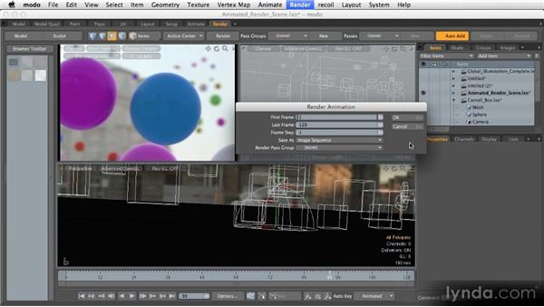 Rendering animation: Getting Started with MODO 601