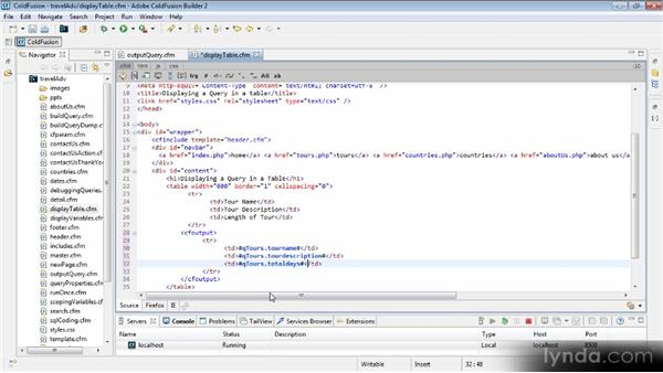 Displaying data using a table: Getting Started with ColdFusion 10