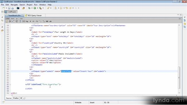 Inserting data: Getting Started with ColdFusion 10