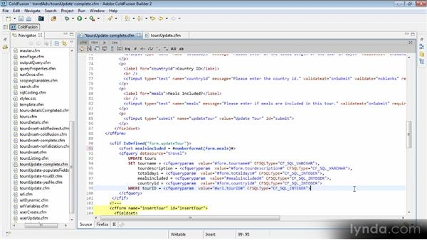 Adding the update SQL code: Getting Started with ColdFusion 10