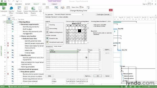 Setting up calendars: Microsoft® Project 2013 Essential Training