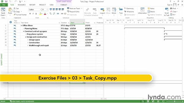 Copying tasks from another program: Microsoft® Project 2013 Essential Training