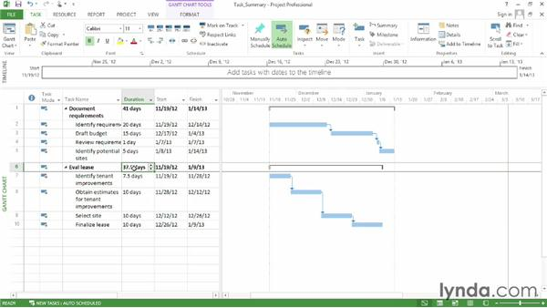 Creating a summary task: Microsoft® Project 2013 Essential Training