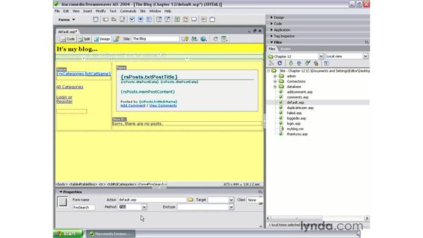 build the search form: Dreamweaver MX 2004 Dynamic Development with ASP
