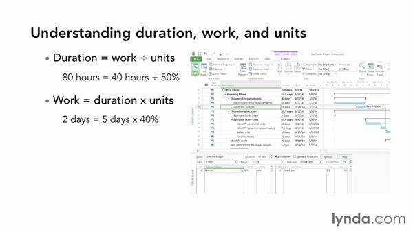 Understanding duration, work, and units: Microsoft® Project 2013 Essential Training