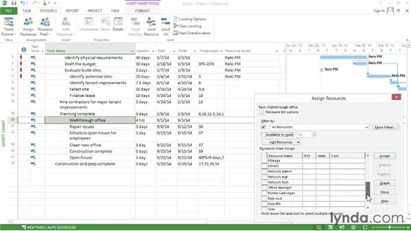 Assigning resources to tasks: Microsoft® Project 2013 Essential Training