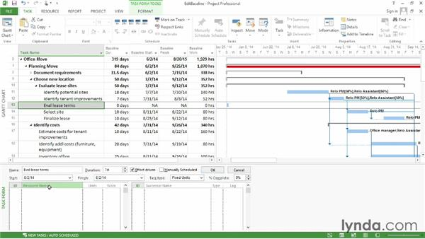 Adding tasks to a baseline: Microsoft® Project 2013 Essential Training