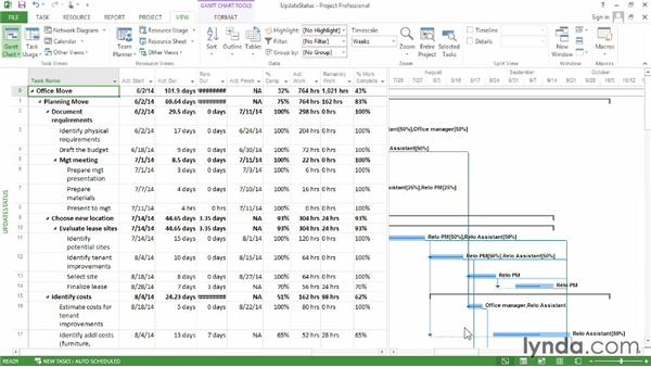 Updating the schedule: Microsoft® Project 2013 Essential Training