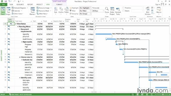 Viewing project schedule status: Microsoft® Project 2013 Essential Training