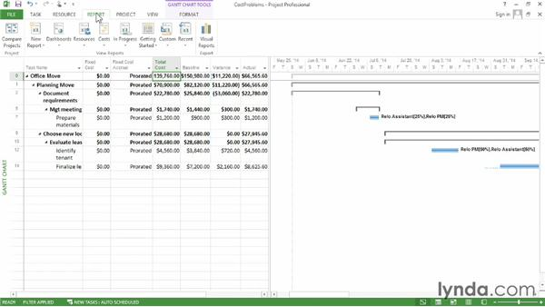 Looking for cost problems: Microsoft® Project 2013 Essential Training