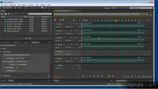Clip grouping and multitrack trimming: Audition CS6: New Features Workshop