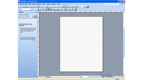 creating a new drawing: Visio 2003 Essential Training