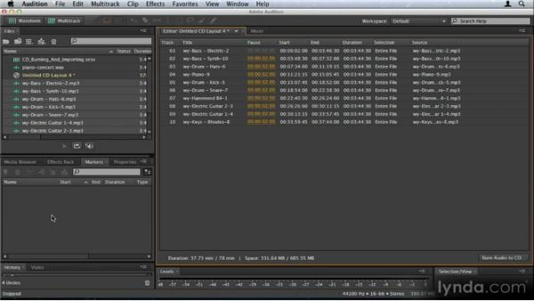 CD burning and importing: Audition CS6: New Features Workshop