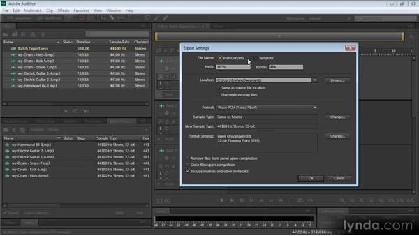 Batch process options: Audition CS6: New Features Workshop