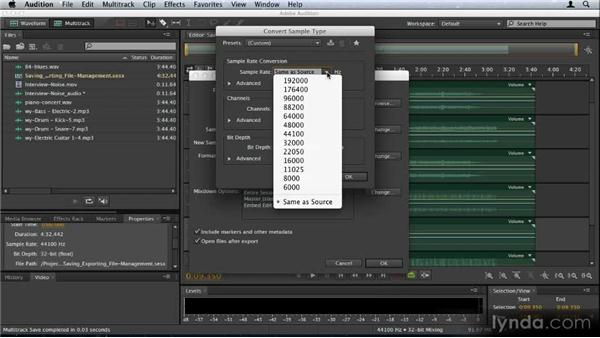 Saving, exporting, and file management: Audition CS6: New Features Workshop