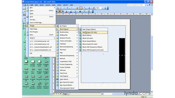 opening a stencil: Visio 2003 Essential Training