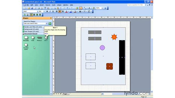 using the document stencil: Visio 2003 Essential Training