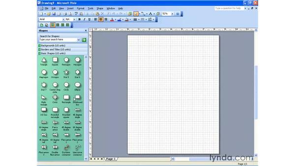 adding a shape: Visio 2003 Essential Training